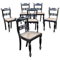 Set of Six 19th Century Anglo-Indian Ebony Side Chairs with Reeded Frames