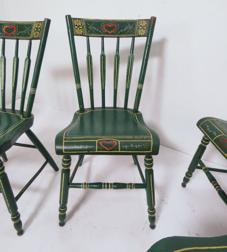 Set of Six 19th Century Pennsylvania Folk Art Painted Windsor Chairs For Sale 5