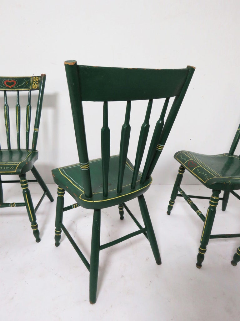Set of Six 19th Century Pennsylvania Folk Art Painted Windsor Chairs For Sale 7