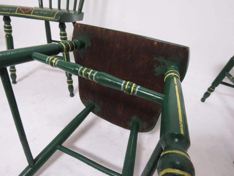 Set of Six 19th Century Pennsylvania Folk Art Painted Windsor Chairs For Sale 8