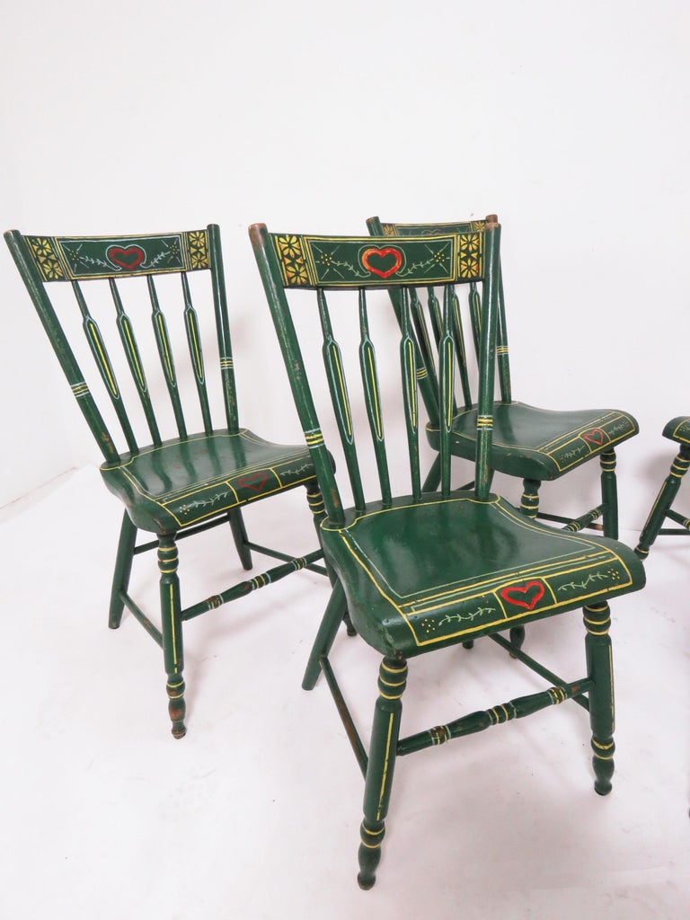 North American Set of Six 19th Century Pennsylvania Folk Art Painted Windsor Chairs For Sale