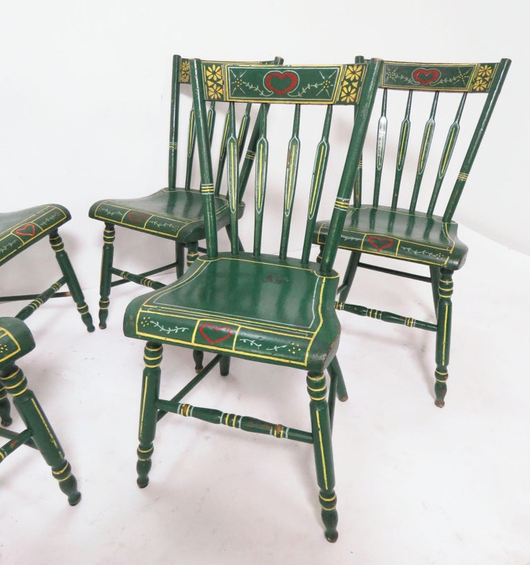 Set of Six 19th Century Pennsylvania Folk Art Painted Windsor Chairs In Good Condition For Sale In Peabody, MA