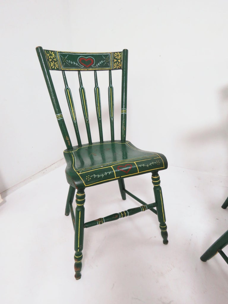 Wood Set of Six 19th Century Pennsylvania Folk Art Painted Windsor Chairs For Sale