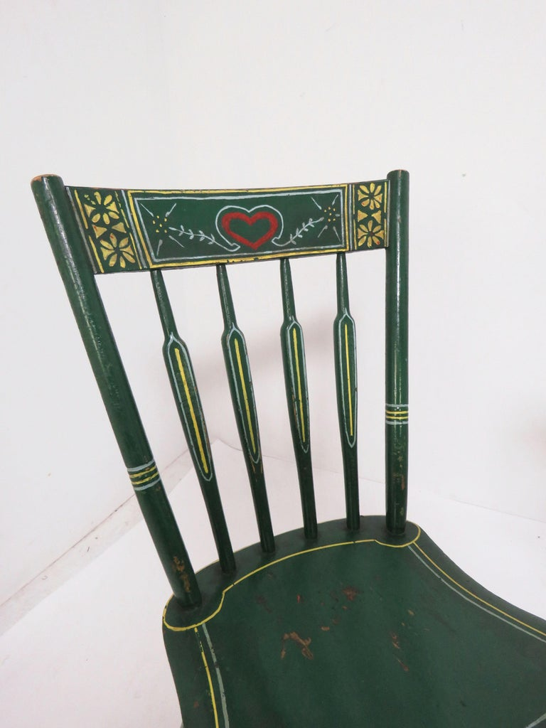 Set of Six 19th Century Pennsylvania Folk Art Painted Windsor Chairs For Sale 1