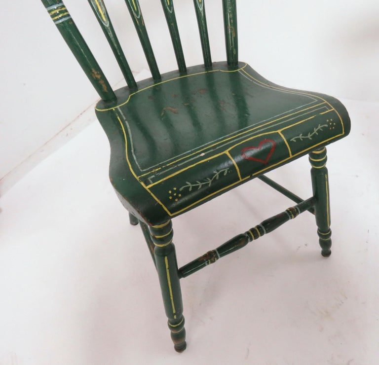 Set of Six 19th Century Pennsylvania Folk Art Painted Windsor Chairs For Sale 2