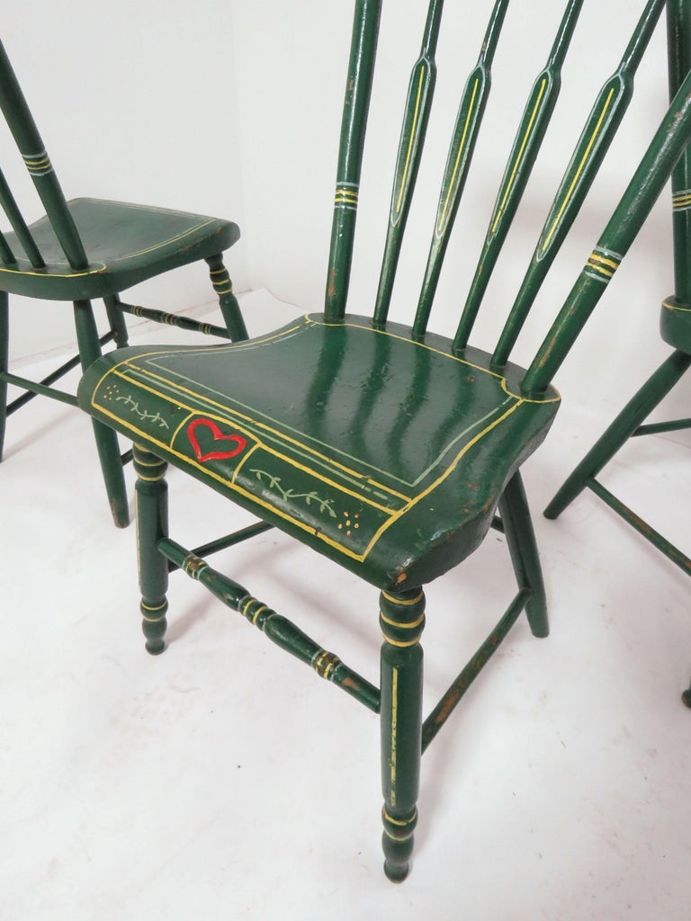 Set of Six 19th Century Pennsylvania Folk Art Painted Windsor Chairs For Sale 4