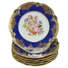 Set of Six Old Paris Porcelain Plates Laroche a L'escalier de Cristal