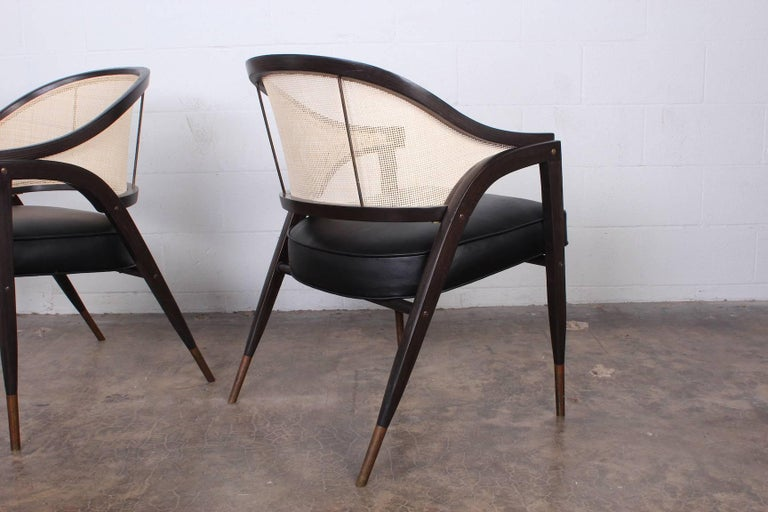 Set of Six a Frame Armchairs by Edward Wormley for Dunbar For Sale 1