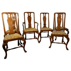 Set of Six Arts & Crafts Queen Ann Style Golden Oak Dining Chairs