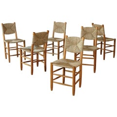 A set of six Charlotte Perriand Model 19 Bauche Chairs, France, 1950s