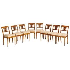 Set of Eight Danish Empire Inlaid Birchwood Sidechairs, circa 1810-1820