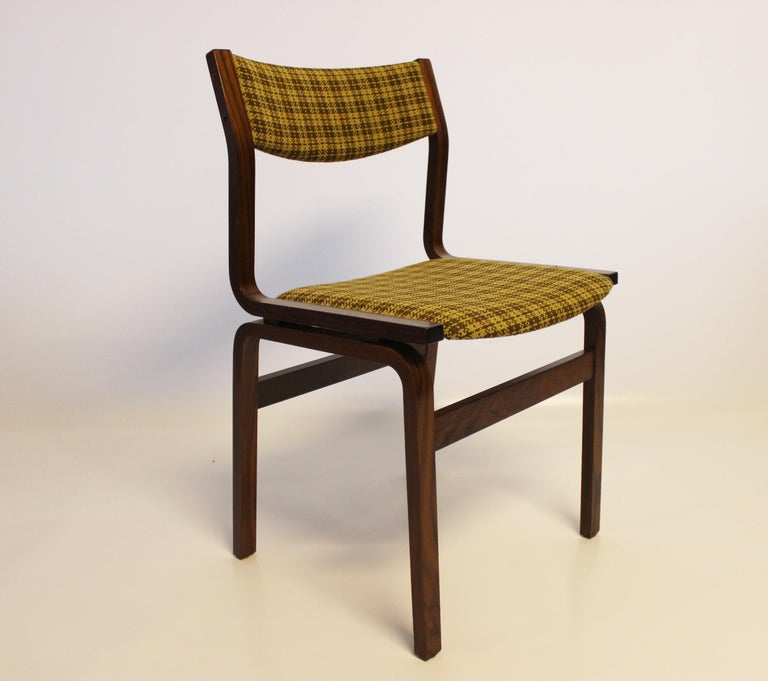 Scandinavian Modern Set of Six Dining Room Chairs in Rosewood, Danish Design, 1960s For Sale