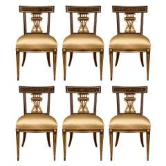 Set of Six Italian 18th Century Louis XVI Period Walnut Dining Chairs