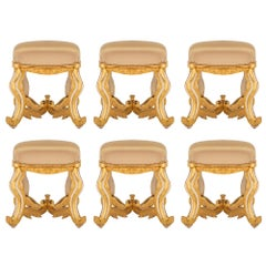 Set of Six Italian Late 18th Century Patinated Wood and Giltwood Stools