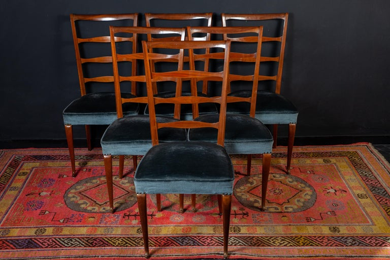 Paolo Buffa Midcentury Blue Velvet and Wood Italian Dining Chairs, 1950  A fine set of six Italian midcentury dining chairs with original blue velvet upholstery in a very good vintage condition. Elegant design by Paolo Buffa, 1950.