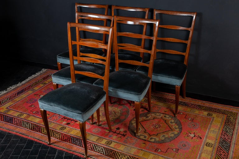 Mid-Century Modern Set of Six Italian Midcentury Dining Chairs by Paolo Buffa, 1950 For Sale