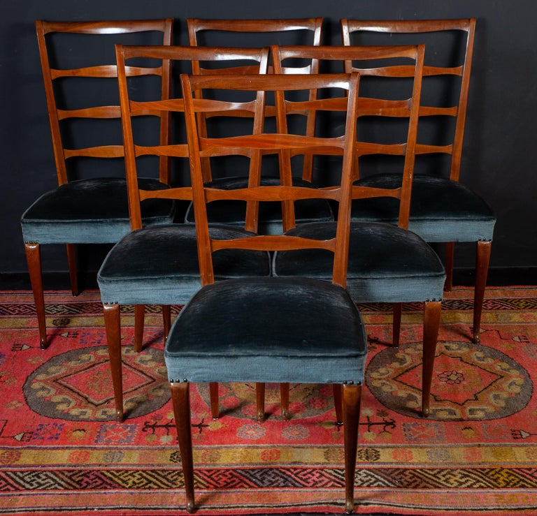Set of Six Italian Midcentury Dining Chairs by Paolo Buffa, 1950 For Sale 4