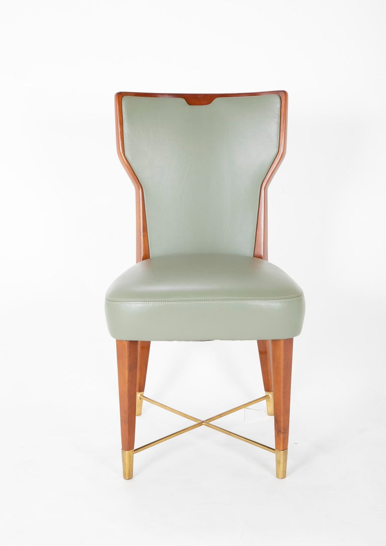 European Set of Six Leather & Mahogany Dining Chairs Designed by Giorgio Ramponi