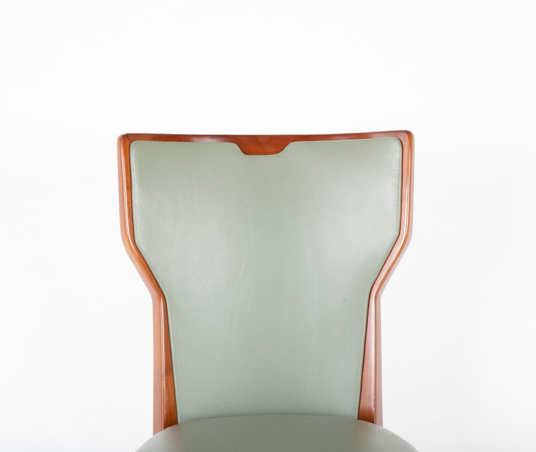 Set of Six Leather & Mahogany Dining Chairs Designed by Giorgio Ramponi In Good Condition In Stamford, CT