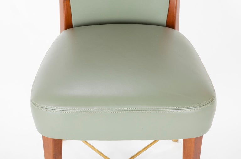Mid-20th Century Set of Six Leather & Mahogany Dining Chairs Designed by Giorgio Ramponi