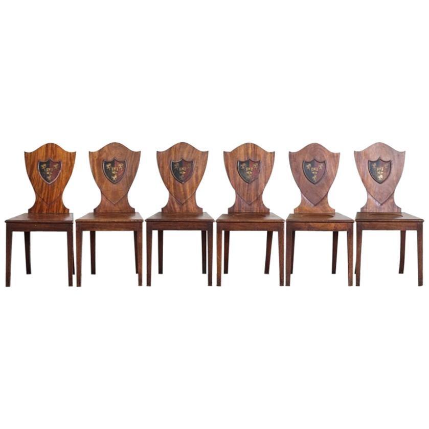 Set of Six Mahogany Shield Back Hall Chairs
