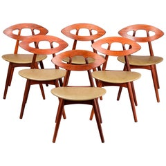 "Set of Six Midcentury Ejvind Johansson ""Eye"" Dining Chairs, Teak and Laeather"