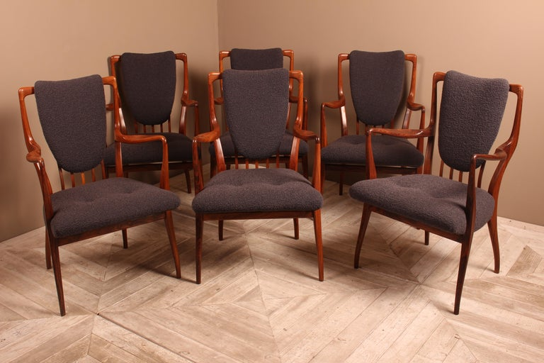 An exquisite set of six vintage rosewood dining chairs. Designed by Andrew (Drew) John Milne for Heals, 1947. Manufactured by Mines and West UK, High Wycombe, England. Fully refinished and reupholstered in Bute Tiree wool fabric. A highlight of