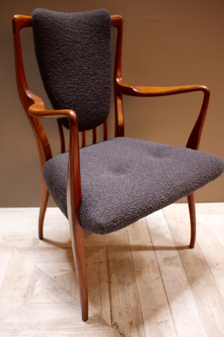 Wool Set of Six Midcentury Dining Chairs by Andrew J Milne, for Heals London For Sale