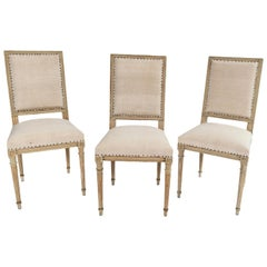 Set of Six Square Back Dining Chairs in the Style of Louis XVI with Slatted Back