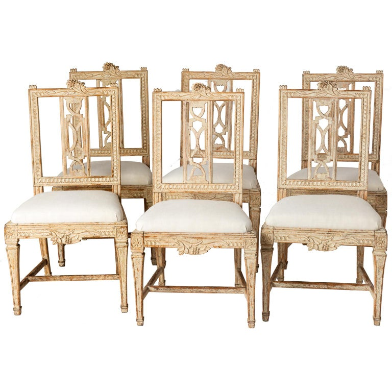 "Set of Six Swedish Lindome ""Gunnebo"" Dining Chairs, circa 1790 For Sale"