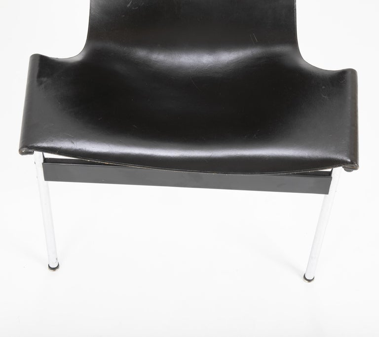 Leather Set of Six T Dining Chairs Designed by Katavolos & Littell & Kelley For Sale