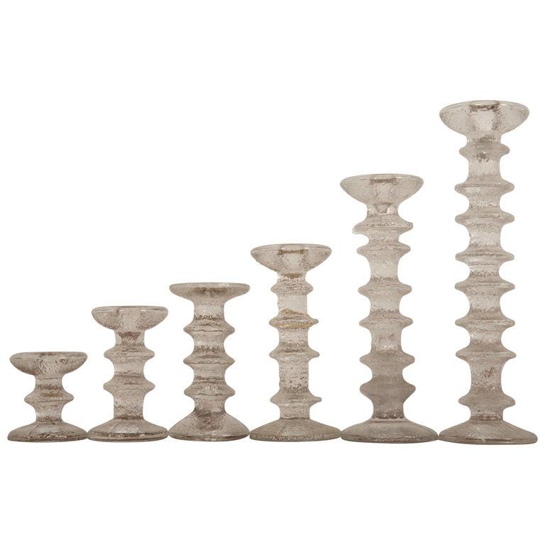 Set of Six Timo Sarpaneva Festivo Candlesticks for Iittala For Sale