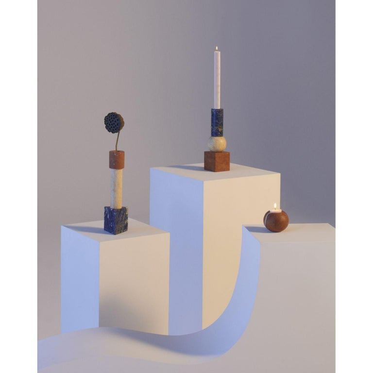 A set of Supra by Michele Chiossi MC Bauhaus Collection Dimensions: 7 x 7, 7 x 7 x 26, 9 x 9 x 27 cm Materials: Blu Sodalite, Giallo Egiziano, Rosso Alicante  A hundred years and it feels like yesterday, a hundred years of a school that changed