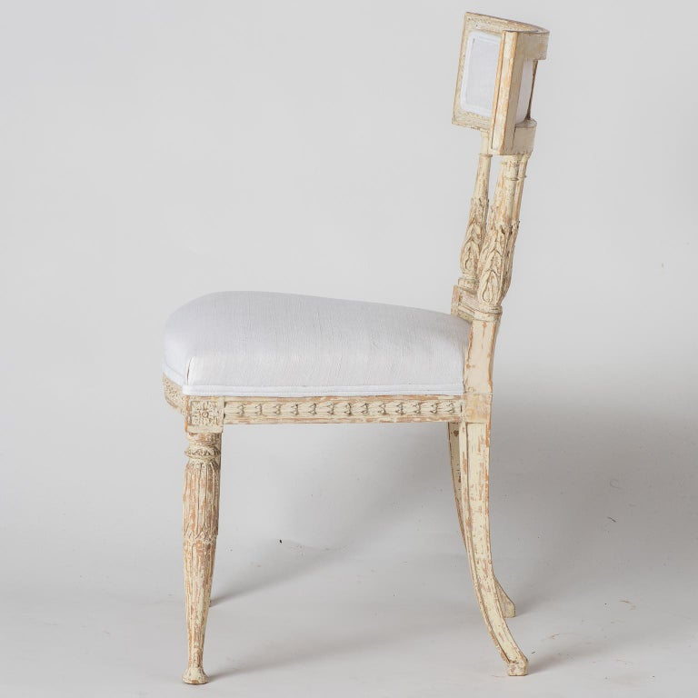 Set of Swedish Gustavian Period Stockholm Dining Chairs with Upholstered Backs For Sale 8