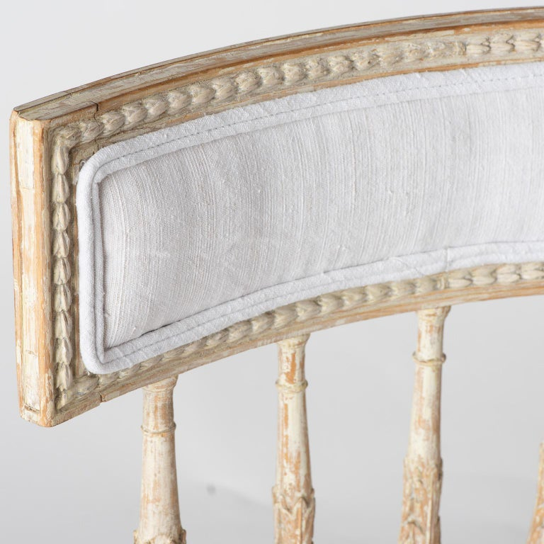 18th Century Set of Swedish Gustavian Period Stockholm Dining Chairs with Upholstered Backs For Sale