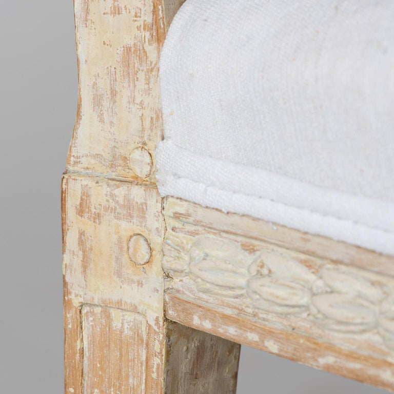 Set of Swedish Gustavian Period Stockholm Dining Chairs with Upholstered Backs For Sale 2