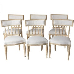 Set of Swedish Gustavian Period Stockholm Dining Chairs with Upholstered Backs