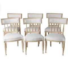 Set von Schwedischen Gustavianischen Stockholm Esszimmerstühlen mit Gepolsterten Lehnen
