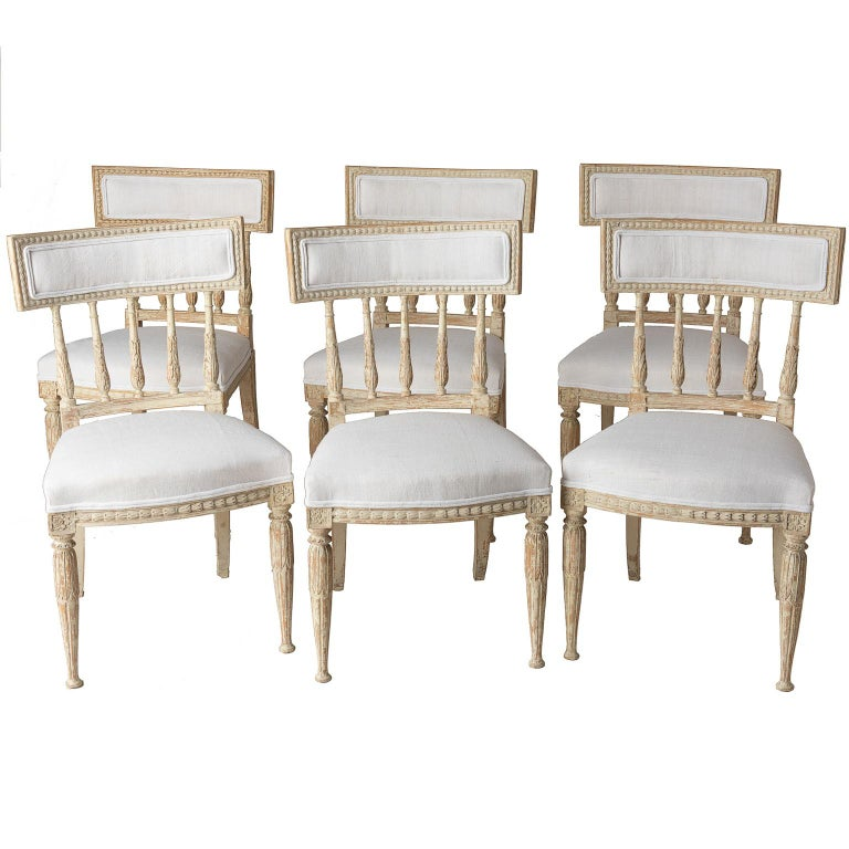 Set of Swedish Gustavian Period Stockholm Dining Chairs with Upholstered Backs For Sale