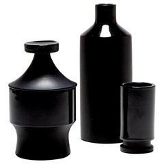 Set of Three Black Ceramic Vessels, by Lucerner Keramik