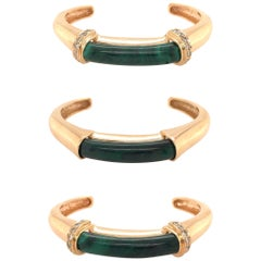 Set of Three Gold, Malachite and Diamond Cuff Bracelets