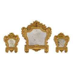 Set of Three Italian 18th Century Louis XV Period Giltwood Mirrors