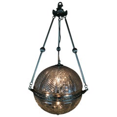 Set of Three Large Cut Glass Globe Lanterns