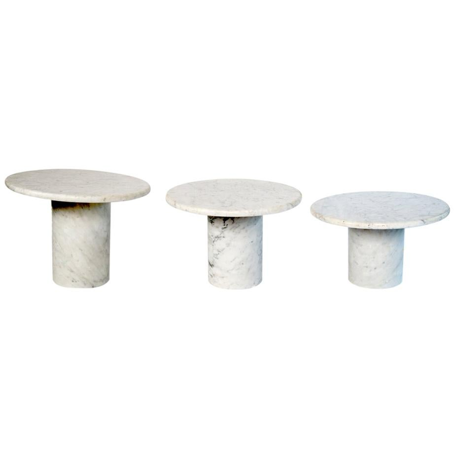 Set of Three Marble Italian Side/Cocktail Tables in Three Heights