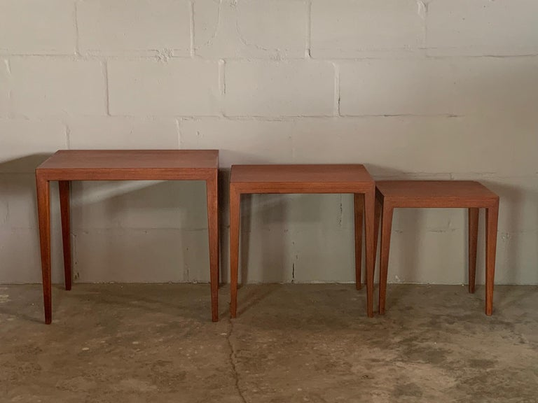 Set of Three Nesting Tables by Severin Hansen for Haslev, Denmark In Good Condition For Sale In St.Petersburg, FL