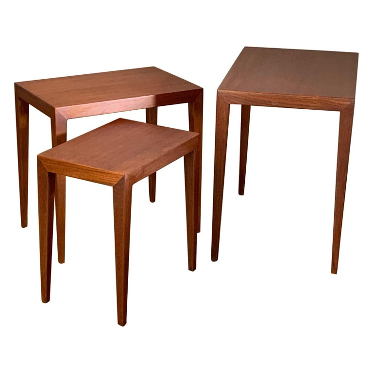 Set of Three Nesting Tables by Severin Hansen for Haslev, Denmark For Sale