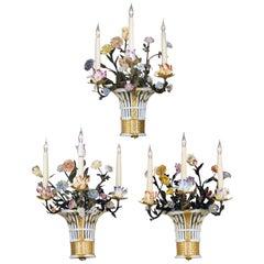 Set of Three Sèvres-Style Four-Light Porcelain Wall Appliques