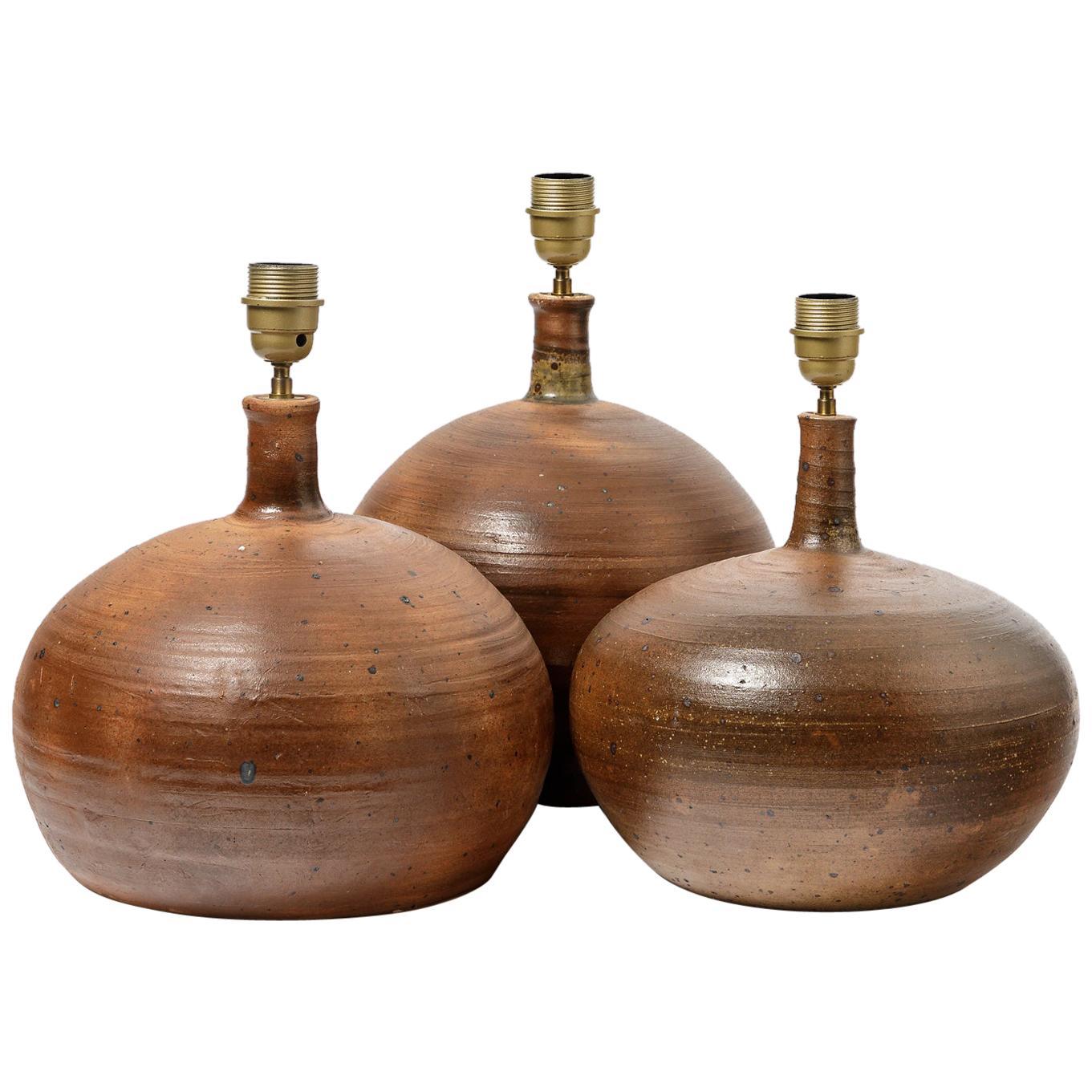 Set of Three Stoneware Table Lamps by Pierre Digan to La Borne, circa 1970