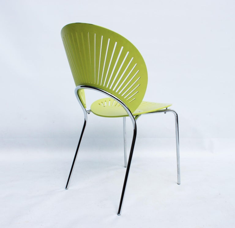 Lacquered Set of Three Trinidad Chairs in Light Green Designed by Nanna Ditzel For Sale
