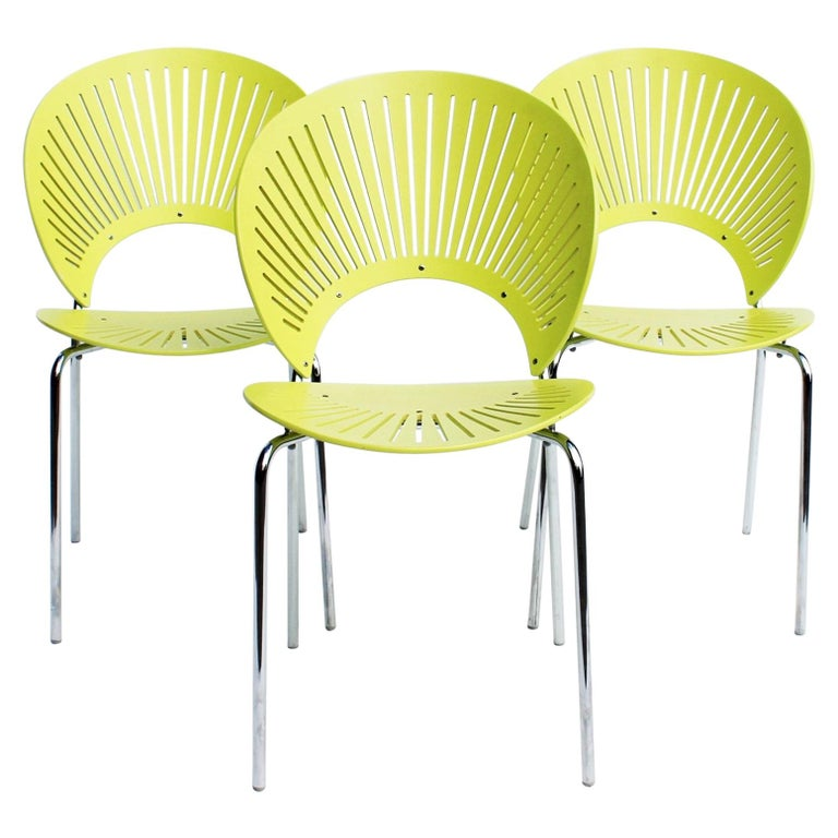 Set of Three Trinidad Chairs in Light Green Designed by Nanna Ditzel For Sale